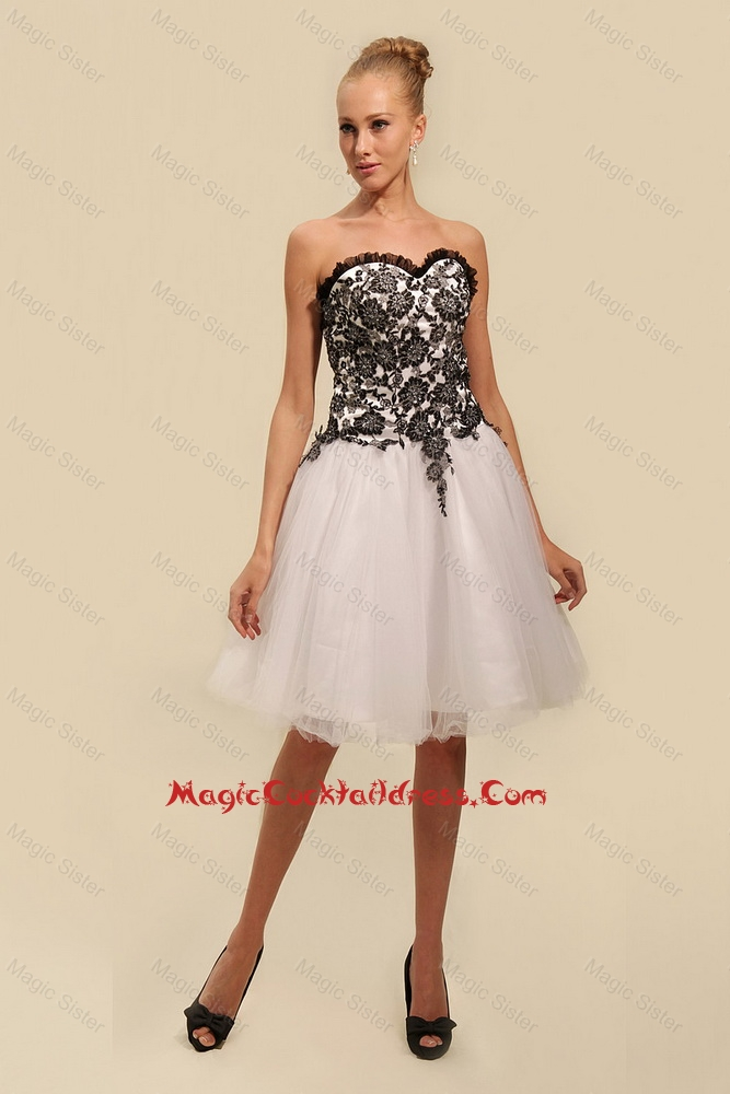 Gorgeous White and Black Cocktail Dresses with Appliques