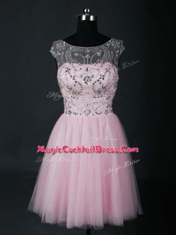 Baby Pink A-line Beading Cocktail Dresses Lace Up Tulle Short Sleeves Mini Length