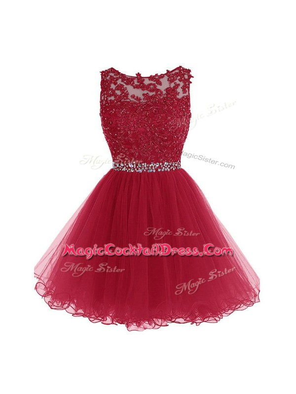Sumptuous Burgundy Sleeveless Organza Zipper Red Carpet Prom Dress for Prom and Party and Sweet 16