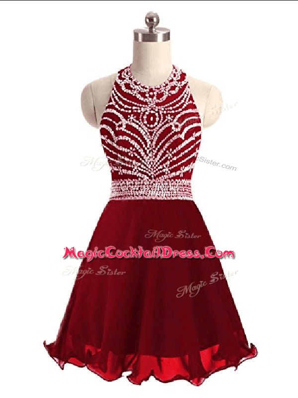 Excellent Wine Red Chiffon Lace Up Cocktail Dresses Sleeveless Mini Length Beading