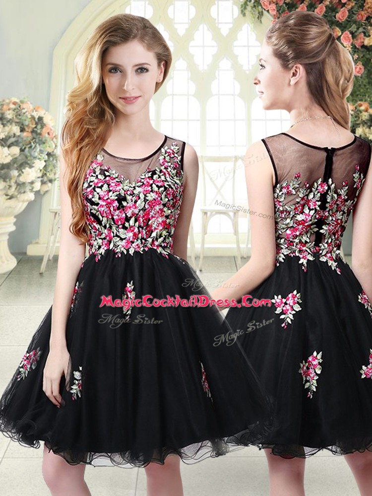 Nice Mini Length Black Club Wear Tulle Sleeveless Embroidery