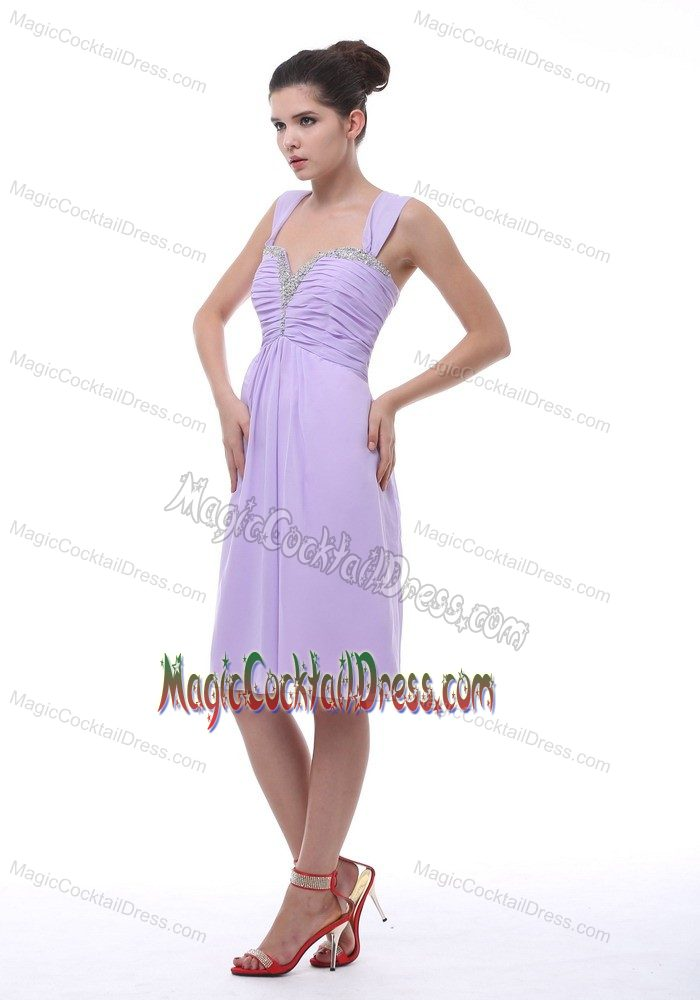 Knee-length Lavender Straps Cocktail Reception Dresses in Brussels