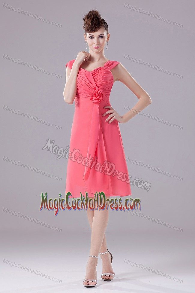 Watermelon Ruched Chiffon Cocktail Dress For Prom with Straps