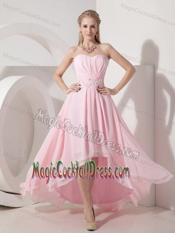 High-low Baby Pink Empire Cocktail Dress Sweetheart with Beading