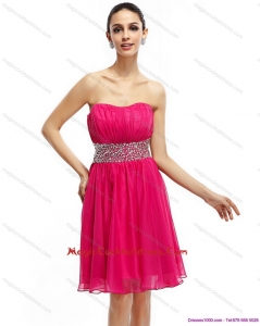 2015 Newest Coral Red Strapless Short Cocktail Dresses with Ruching and Rhinestones