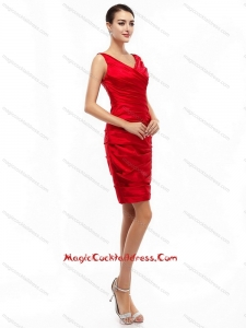 2015 Newest Mini Length Red Cocktail Dresses with Ruching