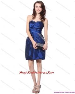 2015 Newest Navy Blue Sweetheart Cocktail Dresses with Ruching and Beading