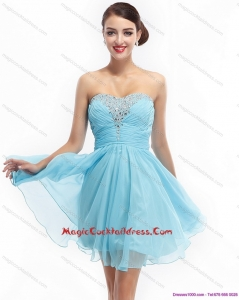 2015 Newest Ruching Strapless Beading Short Cocktail Dresses for 2015