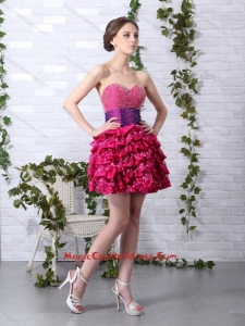 2015 Newest Ruffled Layers Sweetheart Beading Cocktail Dresses for 2015