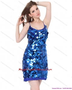 2015 Newest Sequins Spaghetti Straps 2015 Cocktail Dresses in Blue