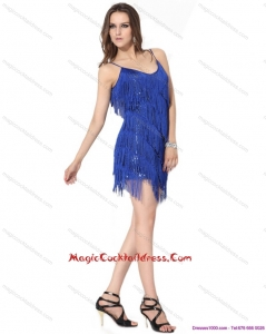 2015 Newest Spaghetti Straps Short Cocktail Dresses with Sequins and Macrame