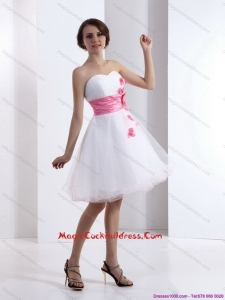 2015 Newest Sweetheart White Cocktail Dresses with Hand Made Flowers