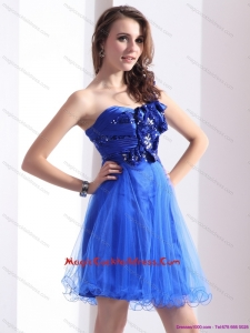 2015 One Shoulder Prom Dresses with Beading and Hand Made Flowers
