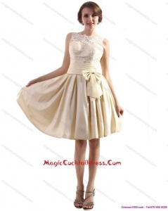 Cheap High Neck Cocktail Dress with Ruching and Bowknot