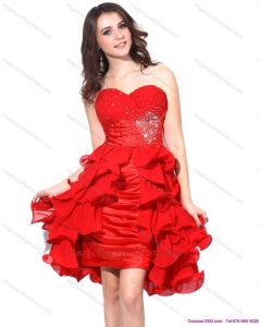 Cheap Red Ruching Sweetheart Cocktail Dress with Beading and Ruffles