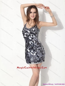 Newest Sliver Sequins Spaghetti Straps Cocktail Dresses for 2015