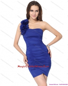One Shoulder Royal Blue Designer Cocktail Dresses with Hand Made Flower