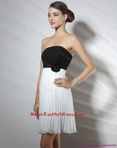 Strapless Ruching and Hand Made Flower Designer Cocktail Dresses in White and Black