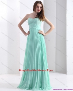 2015 Cheap Brush Train Apple Green Cocktail Dress with Beading and Pleats