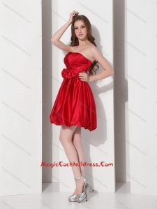 2015 Cheap Strapless Bowknot Mini Length Cocktail Dress in Red