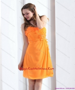2015 Strapless Orange Hot Sale Cocktail Dresses with Hand Made Flowers and Ruching