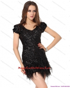 2015 Newest Black Mini Length Cocktail Dresses with Sequins and Macrame