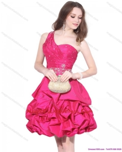 2015 Newest One Shoulder Beading Cocktail Dresses with Pick Ups