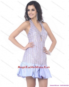 2015 Newest Sequined Halter Top Mini Length Cocktail Dresses for 2015