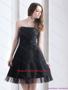 2015 Newest Strapless Black Cocktail Dresses with Ruching and Beading
