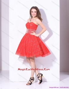 2015 Newest Sweetheart Beading Mini Length Cocktail Dresses in Red