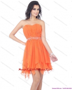 2015 Newest Sweetheart Beading and Ruching Cocktail Dresses in Orange