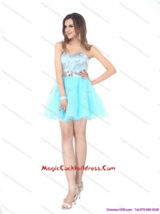 2015 Light Blue Hot Sale Cocktail Dresses with Sequins