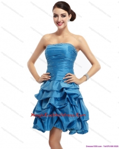 Baby Blue Strapless Hot Sale Cocktail Dresses with Pick Ups and Beading