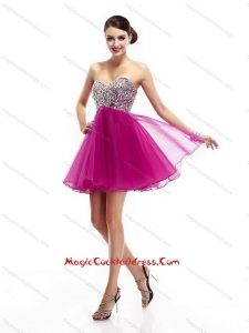 Hot Pink Sweetheart Hot Sale Cocktail Dresses with Rhinestone