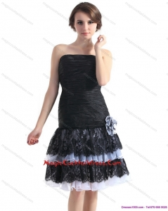 Black Short Cocktail Dresses with Ruching and Hand Made Flower