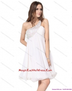 Cheap One Shoulder Beading Cocktail Dress in White