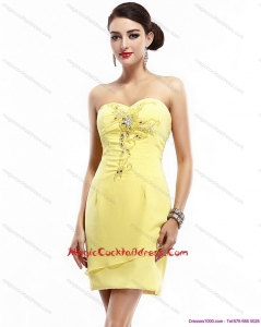 Cheap Sweetheart Beading Yellow Cocktail Dress for 2015