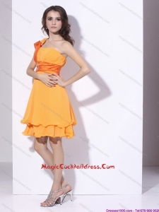 One Shoulder Gold Hot Sale Cocktail Dresses with Ruching and Beading