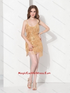 Gold Sequins and Mini Length Macrame Cocktail Dresses with Spaghetti Straps
