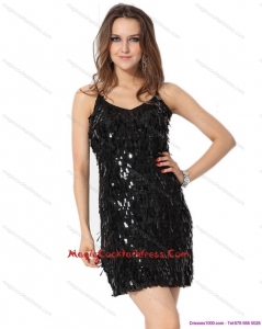 2015 Black Spaghetti Straps Hot Sale Cocktail Dresses with Sequins