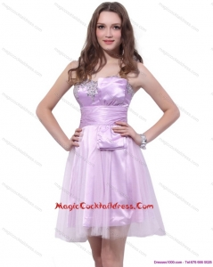 Lilac Strapless Mini Length 2015 Cocktail Dresses with Ruffles and Beading