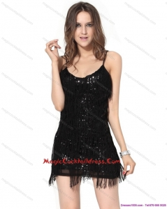 New Style Black Sequins Mini Length Hot Sale Cocktail Dresses with Macrame