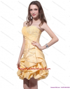 Sexy Gold Mini Length Cocktail Dresses with Beading and Pick Ups