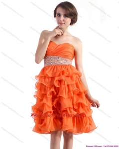 Sexy Knee Length Cocktail Dresses with Rhinestones and Ruffled Layers
