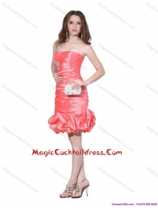 Sexy Strapless Watermelon Red Cocktail Dresses with Beadings and Ruching