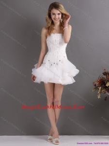 Sexy White Strapless Mini Length Cocktail Dresses with Rhinestones