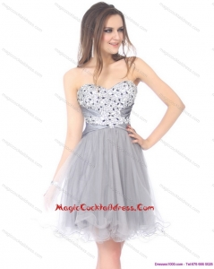2015 Luxurious Sweetheart Grey Cocktail Dresses with Rhinestones