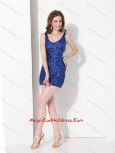 2015 Sexy Sequins Scoop Cocktail Dresses in Blue