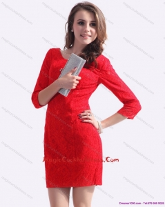 New Style Red Mini Length 2015 Cocktail Dresses with Lace