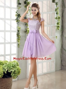 2015 Chiffon Cocktail Dress with Ruching Bowknot